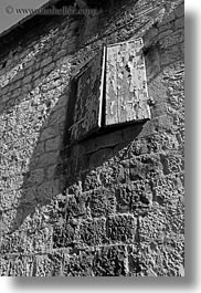 black and white, croatia, europe, perspective, trogir, upview, vertical, windows, photograph