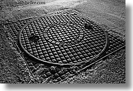 black and white, croatia, europe, horizontal, manholes, ugljan, vulkan, zagreb, photograph