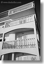 balconies, black and white, croatia, europe, ugljan, vertical, white, photograph