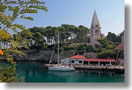 bell towers, boats, buildings, churches, croatia, europe, horizontal, religious, structures, transportation, veli losinj, photograph