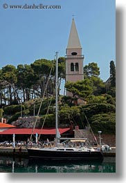 bell towers, boats, buildings, churches, croatia, europe, religious, structures, transportation, veli losinj, vertical, photograph
