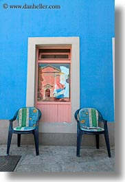 blues, chairs, colorful, colors, croatia, europe, veli losinj, vertical, walls, windows, photograph