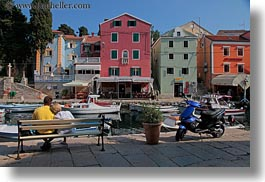 benches, colorful, colors, couples, croatia, europe, harbor, horizontal, veli losinj, photograph