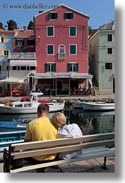 benches, colorful, colors, couples, croatia, europe, harbor, veli losinj, vertical, photograph