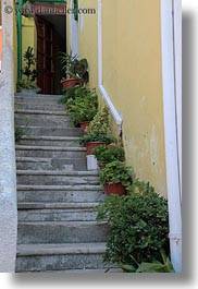 colors, croatia, europe, green, plants, potted, stairs, veli losinj, vertical, photograph