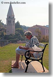bell towers, benches, croatia, europe, people, senior citizen, veli losinj, vertical, womens, photograph
