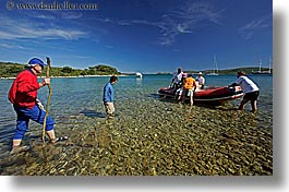 boatding, boats, croatia, europe, groups, horizontal, men, people, water, photograph