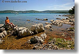 croatia, europe, horizontal, men, people, richard, richard bell, rocks, water, photograph