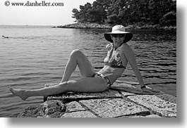 bathing, black and white, croatia, emotions, europe, hats, helene patrick, helenes, horizontal, people, smiles, suit, womens, wt group istria, photograph