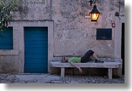 croatia, europe, helene patrick, helenes, horizontal, lamp posts, people, reclining, womens, wt group istria, photograph