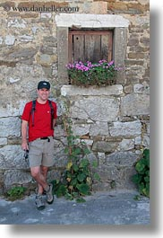 croatia, emotions, europe, flowers, helene patrick, patricks, smiles, stones, vertical, walls, wt group istria, photograph