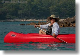 canoes, clothes, croatia, emotions, europe, happy, hats, horizontal, judy, people, red, senior citizen, smiles, straw hat, sunglasses, wt group istria, photograph