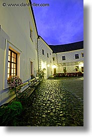 bohemia, courtyard, czech republic, europe, evening, slow exposure, vertical, photograph