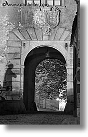 arches, black and white, castles, cesky krumlov, czech republic, europe, long exposure, tunnel, vertical, photograph