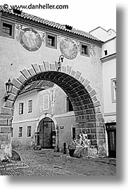arches, black and white, cesky krumlov, czech republic, europe, krumlov, vertical, photograph