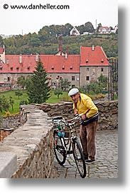 bicycles, cesky krumlov, czech republic, europe, krumlov, men, vertical, photograph
