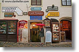 cafes, cesky krumlov, czech republic, europe, horizontal, shops, terasa, photograph
