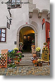 cesky krumlov, czech republic, europe, flowers, shops, vertical, photograph