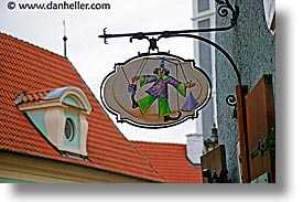 cesky krumlov, czech republic, europe, horizontal, puppets, shops, signs, photograph