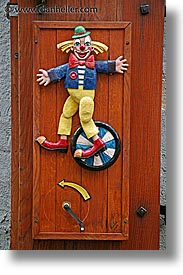 cesky krumlov, clown, czech republic, europe, shops, vertical, woods, photograph