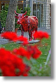 arts, cows, czech republic, europe, prague, red, vertical, photograph