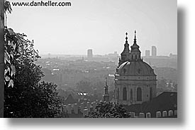 basilica, black and white, buildings, christian, churches, czech republic, europe, horizontal, malostranske namesti, prague, st nicolas church, views, photograph