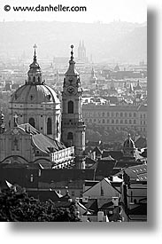 basilica, black and white, buildings, christian, churches, czech republic, europe, malostranske namesti, prague, st nicolas church, vertical, views, photograph