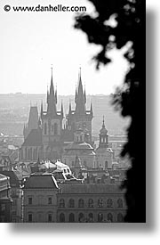 black and white, buildings, christian, churches, czech republic, europe, prague, tyn, tyn church, vertical, photograph
