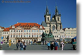 buildings, christian, churches, czech republic, europe, horizontal, prague, squares, tyn, tyn church, photograph