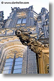 buildings, churches, czech republic, europe, gargoyle, prague, vertical, photograph