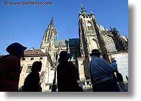 buildings, churches, czech republic, europe, horizontal, people, prague, silhouettes, photograph