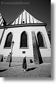 black and white, buildings, churches, czech republic, europe, old, prague, vertical, womens, photograph