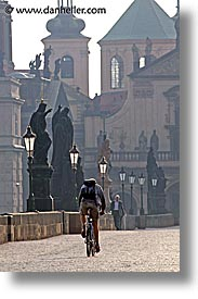 bridge, charles, charles bridge, cyclists, czech republic, europe, prague, vertical, photograph