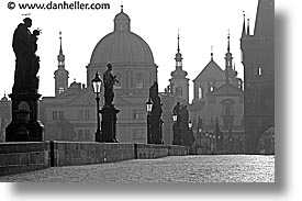 black and white, bridge, charles, charles bridge, czech republic, europe, horizontal, morning, prague, photograph