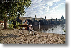 charles bridge, czech republic, europe, horizontal, morning, prague, reading, photograph