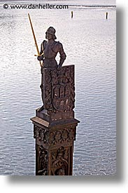 charles bridge, czech republic, europe, prague, statues, sword, vertical, photograph