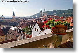 cityscapes, czech republic, europe, geraniums, horizontal, prague, photograph