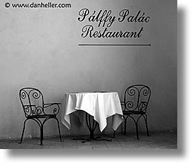 black and white, czech republic, europe, horizontal, palac, palffy, prague, restaurants, photograph