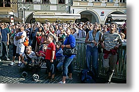 crowds, czech republic, europe, horizontal, looking, people, prague, photograph