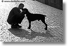 black and white, czech republic, dogs, europe, horizontal, people, prague, womens, photograph
