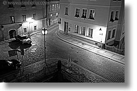 black and white, corner, czech republic, europe, horizontal, long exposure, nite, prague, streets, photograph