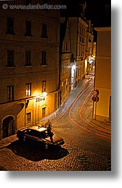 corner, czech republic, europe, long exposure, nite, prague, streets, vertical, photograph