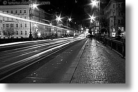 black and white, czech republic, europe, horizontal, long exposure, nite, prague, streets, traffic, photograph