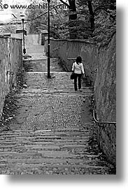 black and white, czech republic, downstairs, europe, prague, streets, vertical, walk, photograph