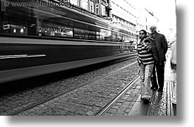 black and white, bus, czech republic, europe, horizontal, long exposure, prague, speeding, streets, photograph