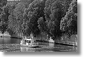 black and white, cruising, czech republic, europe, horizontal, prague, vltava, vltava river, photograph