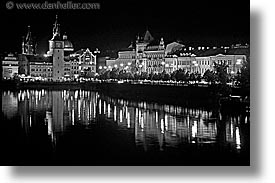 black and white, czech republic, europe, horizontal, nite, prague, slow exposure, vltava, vltava river, photograph