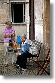 czech republic, europe, old, slavonice, talking, vertical, womens, photograph