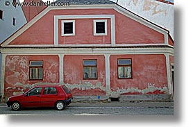buildings, cars, czech republic, europe, horizontal, red, slavonice, photograph