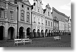 black and white, czech republic, europe, horizontal, telc, photograph